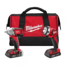 Milwaukee M18 Red Lithium 18-Volt Cordless 2-Tool Combo Kit - Compact Impact Wrench/ Light