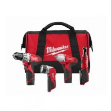 Milwaukee M12 Red Lithium 12-Volt Cordless 4-Tool Combo Kit- Drill Driver/ Impact Wrench/ Ratchet/ Light