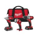 Milwaukee M18 Red Lithium 18-Volt Cordless 3-Tool Combo Kit- Compact Drill/ Impact Wrench/ Light