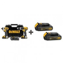 DEWALT 20-Volt Max (1.5 Ah) Lithium Ion Compact Hammerdrill and Impact 2-Tool Combo Kit with 2 Free Batteries