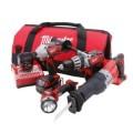 Milwaukee M18 Red Lithium 18-Volt Cordless 4-Tool Combo Kit - Hammer Drill/ Sawzall/ Impact Driver/ Light