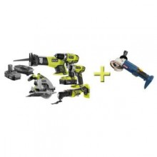 Ryobi 5-Pieces 18-Volt Lithium Ion Combo Kit with Free One+ 4.5 in. Angle Grinder