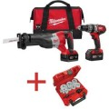 Milwaukee M18 Red Lithium Cordless Hammer Drill/ Sawzall 2 Tool Combo Kit with Free 13-Pieces Holesaw Set