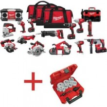 Milwaukee M18 Red Lithium Cordless 15 Piece Combo Kit with Free 13-Pieces Holesaw Set