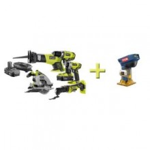 Ryobi 5-Piece 18-Volt Lithium Ion Combo Kit with Free One+ Laminate Trimmer