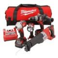 Milwaukee M18 Red Lithium 18-Volt Cordless 4-Tool Combo Kit - Hammer Drill/ Impact Driver/ Sawzall/ Worklight