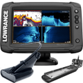 Lowrance Elite-7 Ti2 Combo US Inland with Mid/High Skimmer Transom Mount, Active Imaging 2-in-1 Transducer & Y Cable