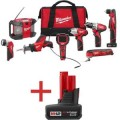 Milwaukee M12 Red Lithium Cordless 8 Tool Combo Kit with Free M12 Extra Capacity Battery